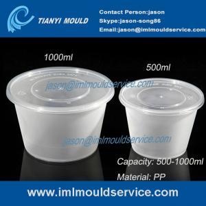 Cheap 500ml/1000ml clear PP plastic disposable noodle bowl and soup bowl with lid mould wholesale