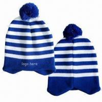 Cheap Pom Beanie with Customized Logo by Embroidery, Made of Acrylic Material wholesale