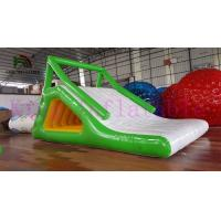China Green / White 0.9mm PVC Tarpaulin Blow Up Water Toy Floating Slide Rental Business use on sale