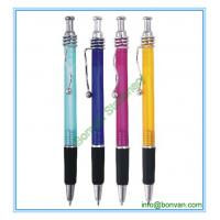 China plastic branded pen with rubber grip and spring clip on sale