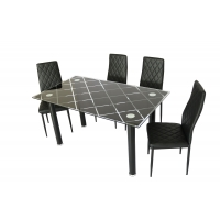 Cheap Simple Tempered Glass Top Modern Dinning Table And Chairs wholesale