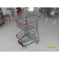 Cheap Two Layer Basket Wire 4 Wheel Shopping Trolley / Cart With Color Poweder Coating wholesale