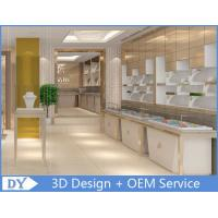 Cheap OEM White Store Jewelry Display Cases With LED Light , Jewellery Showroom Counter wholesale