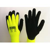 Fluorescent Yellow Latex Palm Coated Gloves , Rubber Coated Gloves Knit Wrist Type