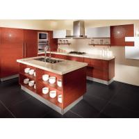 Cheap Red Oak Color Wood Veneer Kitchen Cabinets Stainless Steel Sink And Faucet wholesale