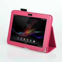 Cheap Rosy Folio 10.1 Inch Leather Case For Xperia Z Color , Lightweight Stand Covers wholesale