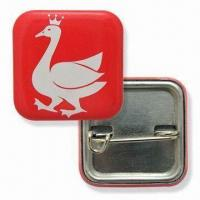 Cheap Button Badges, Measures 25 x 25mm, Made of Tin wholesale