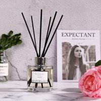 Cheap Simple Style Transparent Round Bottle Home Reed Diffuser with Black Sticks wholesale