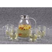 Cheap 62 Oz Glass Tea Infuser Set Stainless Steel Cover With 4 Double Walled Cups wholesale