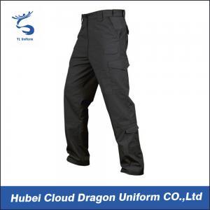 Cheap Men Poly Cotton Tactical Combat Pants / Black Tactical Cargo Pants for sale