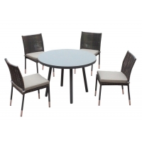 China 4 Seats Large Loading Ability Rattan Circle Outdoor Table Chairs on sale