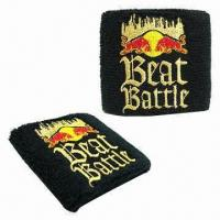 Cheap Cotton Wristband with Direct Embroidered Logo wholesale