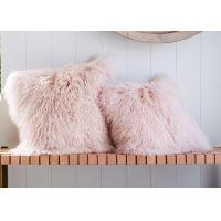 Long Wool Pink Mongolian Lamb Fur Throw Pillow20x20 Inch For Air Condition Room