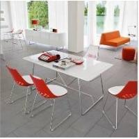 China Featuring Modernity home Streamline Legs tempered glass topped dining tables on sale