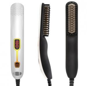 China 60 Minutes Auto Shutdown Lcd Temperature Display Ptc Heating Men Straightening Hair Brush Beard Brush on sale