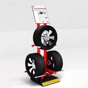 China Garage 3 Tyres Cart Wheel Display Rack / Three Sides Alloy Wheel Display Stand on sale