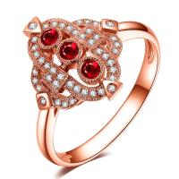 Cheap Luxury Gemstone Gold Jewelry For Women Three Stone Ruby Diamond Engagement Ring  wholesale