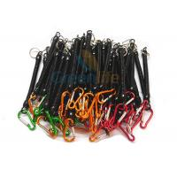 Black Plastic Coiled Spring Coil Lanyard , Colourful Carabiners Retractable Coil Cord