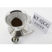 Cheap Paperless Stainless Steel Pour Over Cone Dripper , Metal Coffee Filter Cone wholesale