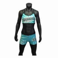 Cheap Lycra Fabrci Cheerleading Training Clothes , Green / Blue Youth Cheerleading Outfits wholesale