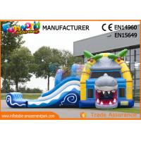Cheap Multiplay Shark Inflatable Bounce Houses / 12 Person Blow Up Water Slide wholesale