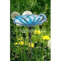 Cheap Garden Art Gardening Products with Metal Stand Glass Bird Bath Plater) wholesale