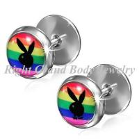 Cheap 8mm Stainless Steel Fake Plug Earrings For Women / Girls / Guys wholesale