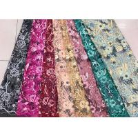 Cheap Gold Silver Sequin Fabric , Multi Colored Embroidered Floral Dress Lace Fabric For Gown wholesale