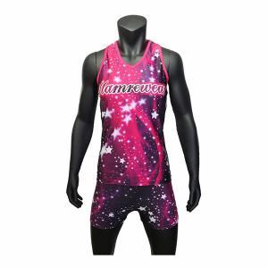 Cheap Nice Design Purple Color Cheer Dance Clothes Tank And Shorts  XXS To XXXL wholesale
