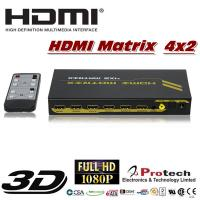 China HDMI Switch Splitter Matrix 4x2 with audio IR PET0402A on sale
