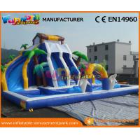 Cheap 0.55 MM PVC Tarpaulin Mega Inflatable Slides With Pool For Water Park Party wholesale
