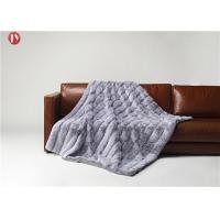Cheap Stripe Rabbit Throw Faux Animal Fur Blanket Super Soft With Custom Logo Light Gray with white tips wholesale