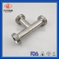 Cheap Stainless Steel 316L Sanitary Pipe Fittings Equal Tee With Thread Ends wholesale