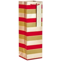 Cheap Luxury Paper Wine Bottle Gift Bag With Ribbon And Handle wholesale