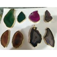 Drusy Gemstone Pendant With Amethyst Heart , Hole Raw Agate Stone Point Necklace