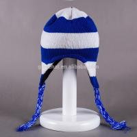 2017 fashion jacquard decorate for girls 100%Polyester 33*20cm winter knitting plain dyed color Peruvian earflap Hats