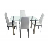 Cheap Steel Frame Tempered Glass Dining Table With 4pcs Chairs wholesale
