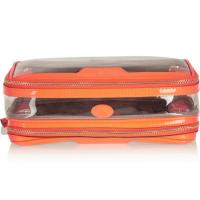 Cheap Customized Logo Patent Leather Cosmetic Bag , Orange Zip Travel Case wholesale