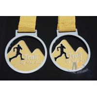Buy cheap Cut Out Design Custom Award Medals , Personalised Medals With Yellow Ribbon from wholesalers