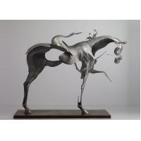 Cheap 170cm Life Size Abstract Stainless Steel Horse Sculpture Brushed Finishing wholesale