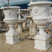 Cheap white marble flowerpots planters white natural stone by hand carved wholesale