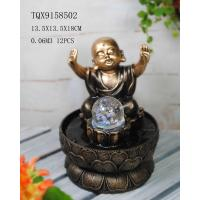 Cheap Little Monk Resin Water Pump Fountain With Revolving Ball 13.5 X 13.5 X 18 Cm wholesale