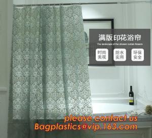 China CAT'S EYE GRAIN GREEN SHOWER CURTAIN, Custom Printed Hookless Shower Curtain,Kids Shower Curtain, Fiber Bathroom Ruffled on sale