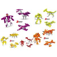 Cheap Transformer Dinosaur Robot Plastic Interlocking Building Blocks 6 Styles Convertable wholesale