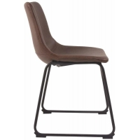 Cheap Mid Century Modern Style Black Metal Leather Dining Room Chairs wholesale