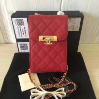 Cheap CHANEL VINTAGE CROSSBODY PHONE HOLDER mini genuine leather bag passport bag with chain replica wholesale