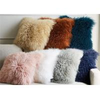 Living Room 16 Inches Mongolian Fur Pillow Long Curly Hair With Micro Suede Lining