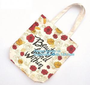 Cheap 10 Oz Tote Reusable Eco Bags Handled Style , Cotton Zipper Shopping Bag wholesale