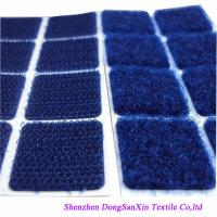 Square Type Hook And Loop Fabric Sheets , Blue Velcro Sticky Pads A Garde