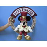 Cheap Mickey Mouse Disney Plush Toys with Wreath / Christmas Holiday Stuffed Toys wholesale